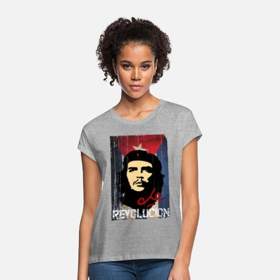 Che Guevara T-Shirts - Che Guevara Cuban Flag - Women's Loose Fit T-Shirt heather grey