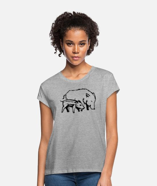 Nature T-Shirts - pigs - Women's Loose Fit T-Shirt heather grey