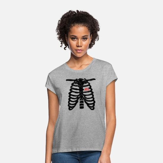 Xray T-Shirts - Heart skeleton heart love truck trucker driver - Women's Loose Fit T-Shirt heather grey