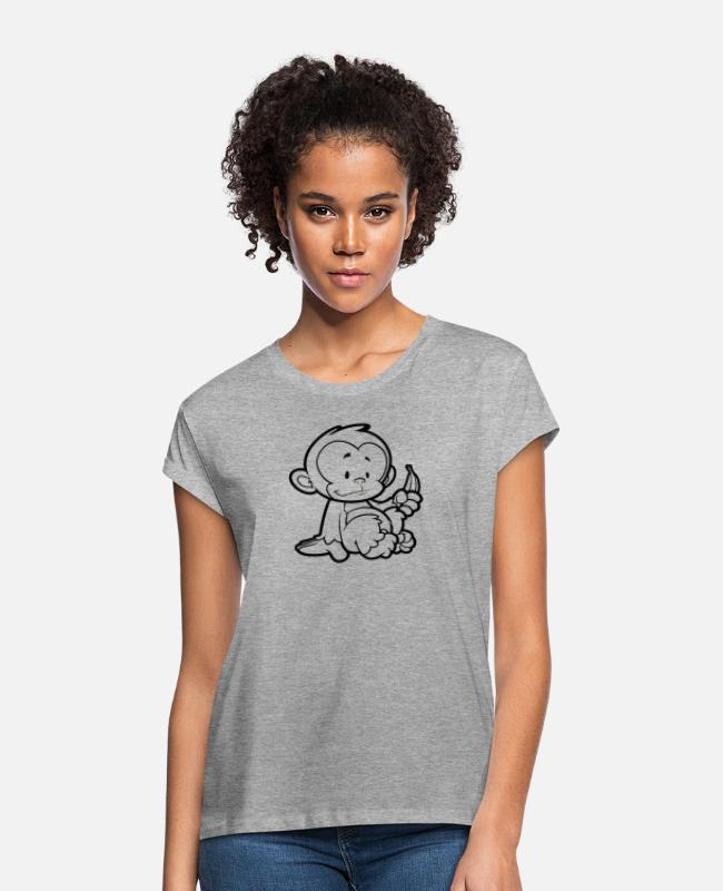 Wild T-Shirts - Cheeky Monkey - Women's Loose Fit T-Shirt heather grey