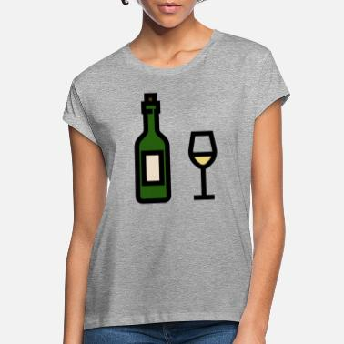 White Wine White wine glass with white wine bottle - Women's Loose Fit T-Shirt