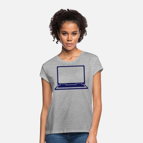 Computer T-Shirts - laptop icon 802 - Women's Loose Fit T-Shirt heather grey