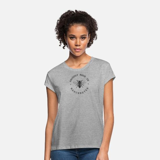 Manchester T-Shirts - Manchester Worker Bee 'Proudly Made in Manchester' - Women's Loose Fit T-Shirt heather grey