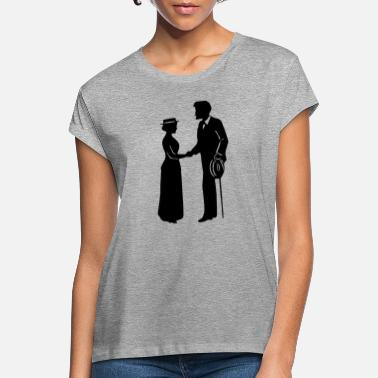 Man and lady shaking hands - T-shirt oversize Femme