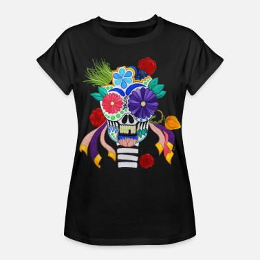 Day Dead Mexican Mexican Skull of the Day of the Dead - Women's Oversize T-Shirt