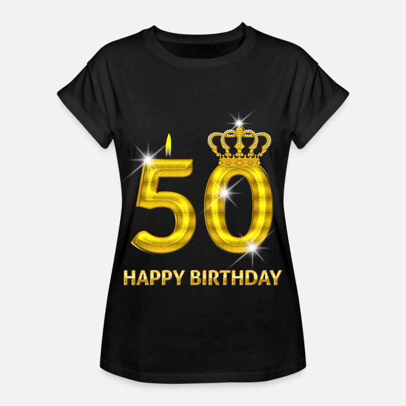 Birthday T-Shirts - 50 - happy birthday - birthday - number gold - Women's Loose Fit T-Shirt black