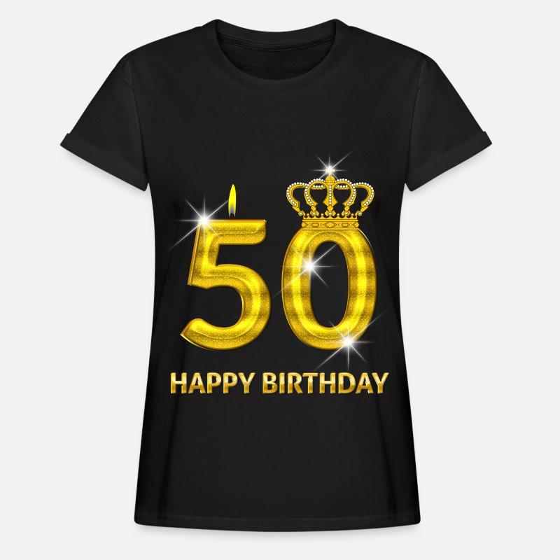 Años Camisetas - 50 - oro número feliz cumpleaños - cumpleaños- - Camiseta  holgada mujer a75c6afe9ebb3