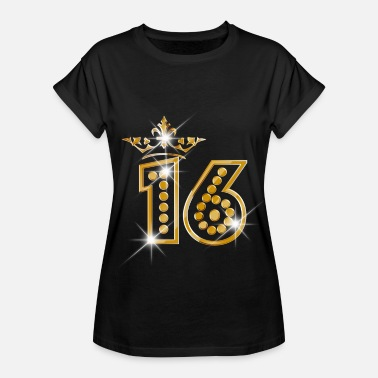 Glitzer Geburtstag 16 - Birthday - Queen - Gold - Burlesque - Frauen Oversize T-Shirt