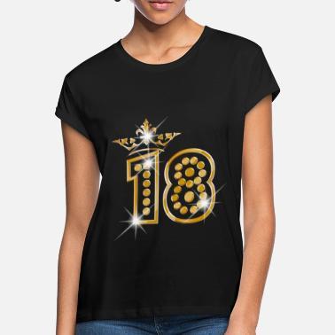 48a7cc6044d57 18 Cumpleaños 18 - Birthday - Queen - Gold - Burlesque - Camiseta holgada  mujer
