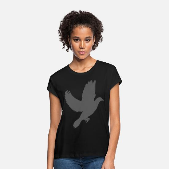 Bird Watching T-Shirts - Pigeon bird watching dove - Women's Loose Fit T-Shirt black