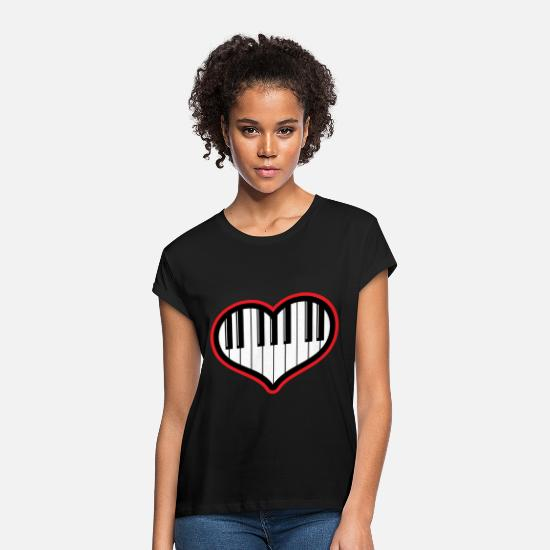 Birthday T-Shirts - Piano gift piano and grand piano - Women's Loose Fit T-Shirt black