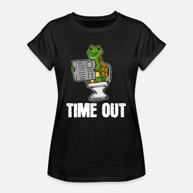 Klo Schildpad, dier, time-out, krant, toilet, cadeau, loo - Vrouwen oversize T-shirt