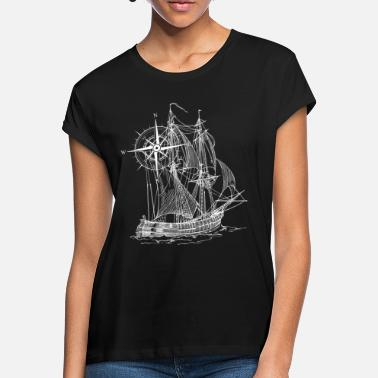 Pirate Ship Ship | Compass | drawn | gift idea - Women's Loose Fit T-Shirt