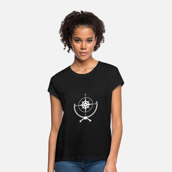 Sailboat T-Shirts - Compass with rope - Women's Loose Fit T-Shirt black