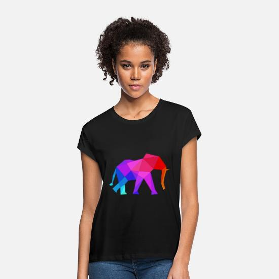 Gift Idea T-Shirts - Elephant Polygon Africa Safari Tusk Zoo - Women's Loose Fit T-Shirt black