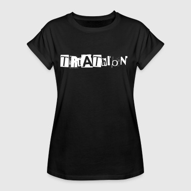 Triathlon lettering from newspaper snippets - Women's Oversize T-Shirt