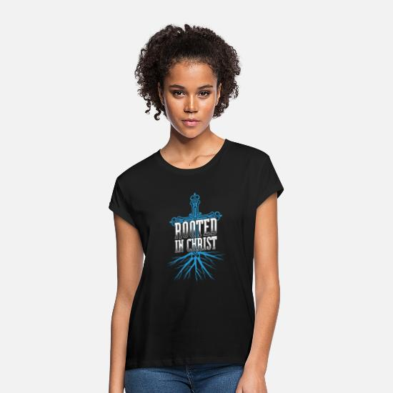 Christian T-Shirts - Rooted in Christ Cool gift - Women's Loose Fit T-Shirt black