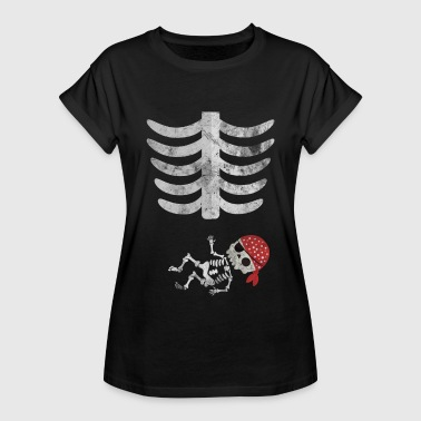 Cute Maternity Halloween Funny skeleton halloween pregnant pirate shirt - Women's Oversize T-Shirt