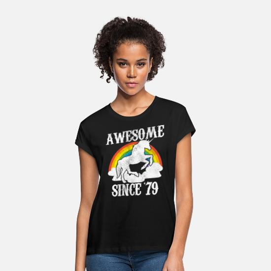 40th Birthday T-Shirts - 40th Birthday Awesome Since 1979 Unicorn Gift - Women's Loose Fit T-Shirt black