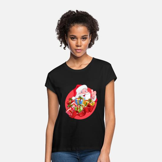 Santa T-Shirts - Nicholas with presents - Women's Loose Fit T-Shirt black