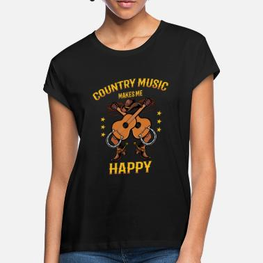 Country Country Music Makes Me Happy Shirt Geschenk - Frauen Oversize T-Shirt