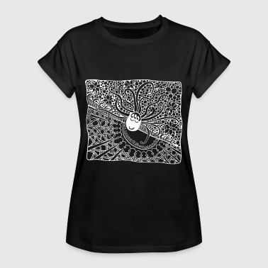 Solstice Day Night. Abstract. Ethno sun and moon. - Women's Oversize T-Shirt