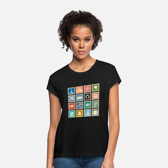 Gift Idea T-Shirts - collect stamps - Women's Loose Fit T-Shirt black