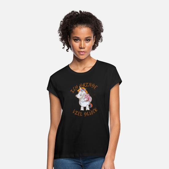 Lucky T-Shirts - Lucky charm unicorn lucky lucky pig spell - Women's Loose Fit T-Shirt black