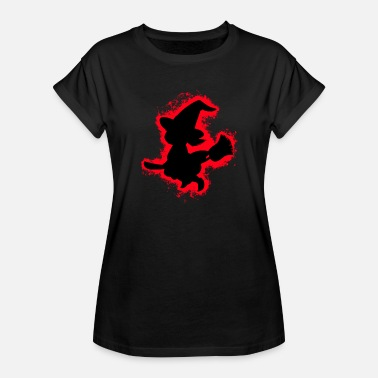 Girl Outline Girl witch red and black outline - Women's Oversize T-Shirt