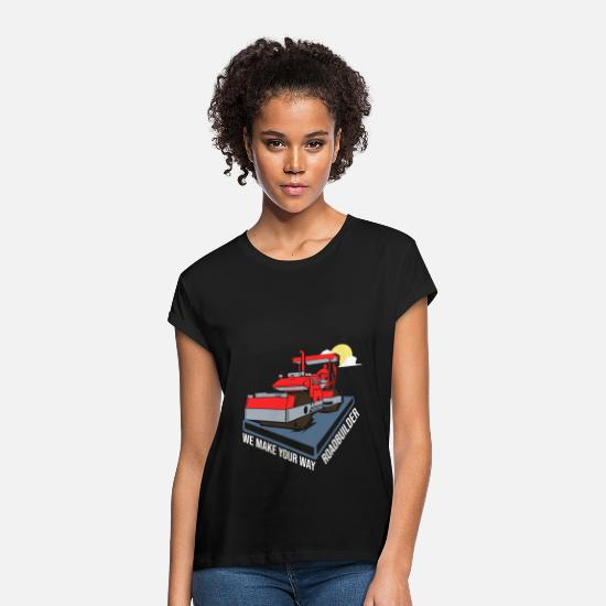 Gift Idea T-Shirts - Road builder construction road - Women's Loose Fit T-Shirt black