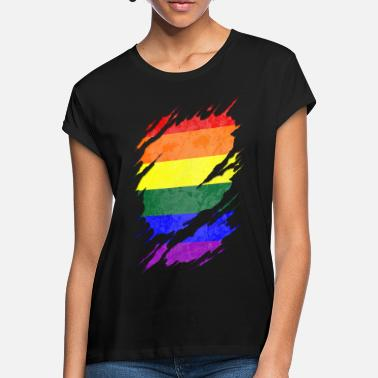 Pride LGBT Pride Flag Ripped Reveal - Vrouwen oversized T-Shirt