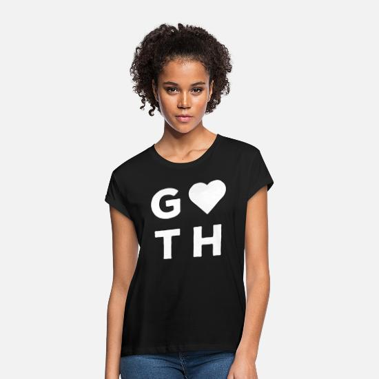 Nat T-shirts - Goth Love Sign Heart White - Oversize T-shirt dame sort
