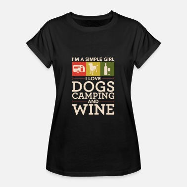 Camper Dogs Camping And Wine - Frauen Oversize T-Shirt