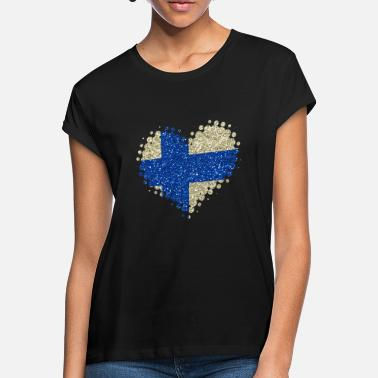 Finland I love Finland heart country colors home country - Women's Loose Fit T-Shirt