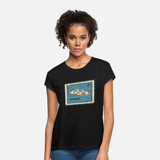 Alps T-Shirts - Snowboard stamps - Women's Loose Fit T-Shirt black