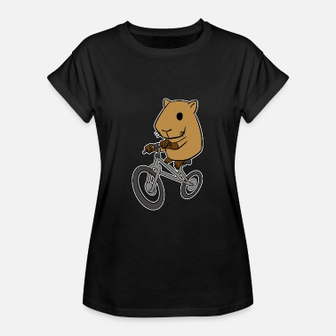Capybara Capybara Riding Bicycle Funny Rodent Animal - Women's Oversize T-Shirt