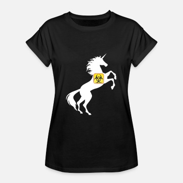 Unicorn Symbol Unicorn Biohazard Symbol TShirt Chemical Magical - Women's Oversize T-Shirt