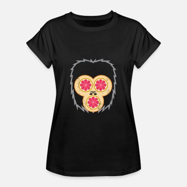 Red Gorilla Gorilla with grapefruit as eyes and mouth - Women's Oversize T-Shirt