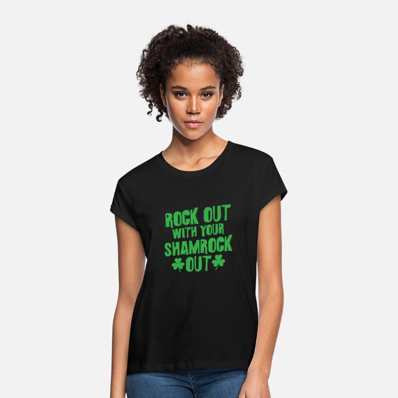 St T-Shirts - Rock Out With Your Shamrock Out St Patricks Day - Women's Loose Fit T-Shirt black