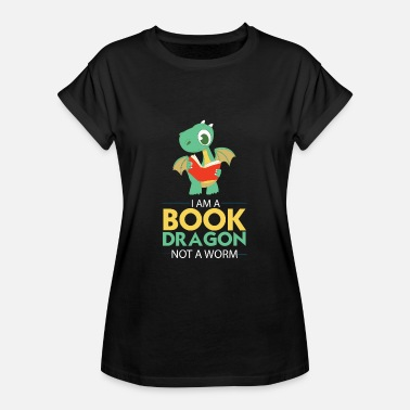 Bookworm Books Reading Dragon T-Shirt Gift - Women's Oversize T-Shirt