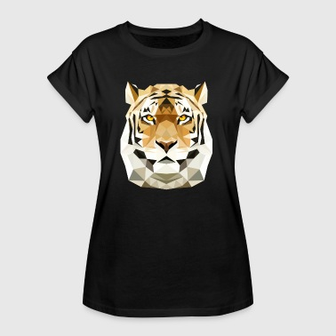 Tiger Katze low poly polygon Raubtier Raubkatze - Frauen Oversize T-Shirt