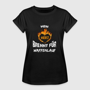 Gun Heart Gift T-Shirt Heart Burns Gun Run - Women's Oversize T-Shirt
