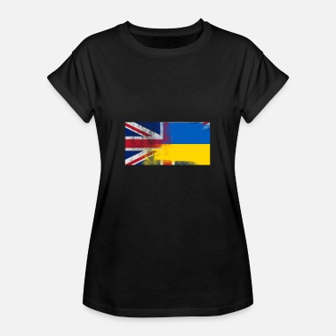 Ukraine British Ukrainian Half Ukraine Half UK Flag - Women's Oversize T-Shirt