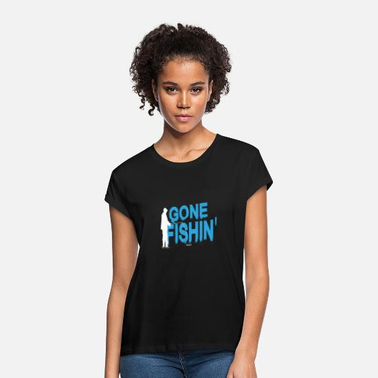 Trout T-Shirts - Fishing gone fishing rod fish fishing line - Women's Loose Fit T-Shirt black
