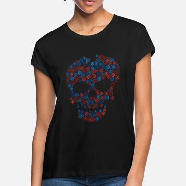 Shape Snowflakes word cloud in skull face shape (redsan - Women's Loose Fit T-Shirt
