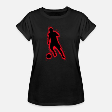 Pigskin Silhouette football red and black outline - Women's Oversize T-Shirt