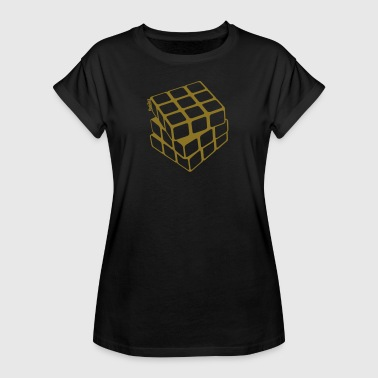 Rubik's Cube Golden Outline - Oversize T-skjorte for kvinner