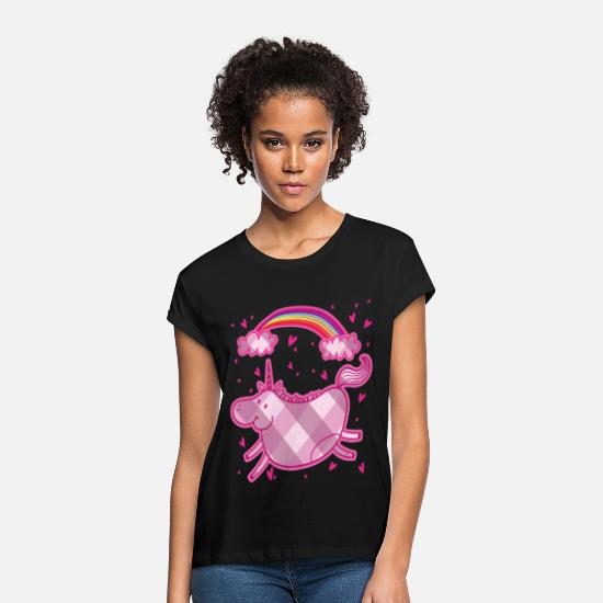 Gift Idea T-Shirts - Chubby unicorn rainbow lozenge pink gift - Women's Loose Fit T-Shirt black