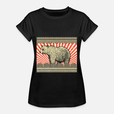 Rocky Mountains Bear Brown Bear Rocky Mountains Animal Grizzly Vintage - Camiseta holgada de mujer