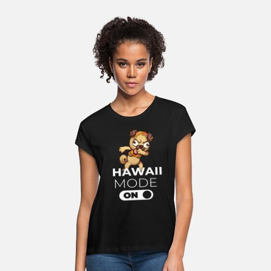 Birthday T-Shirts - Hawaii Fashion On Pug Dog Holiday Summer Gift - Women's Loose Fit T-Shirt black